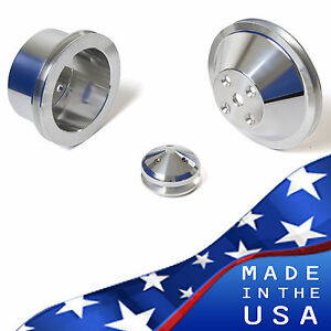 Billet Aluminum Pulley Kit Chevy Small Block V belt 350 Lwp Sbc Alternator 327