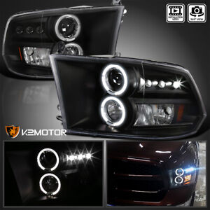 2009 2018 Ram 1500 2010 2018 Ram 2500 3500 Led Halo Projector Headlights Black