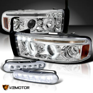 94 02 Dodge Ram 1500 2500 Halo Projector Headlights Front Bumper Led Fog Lights