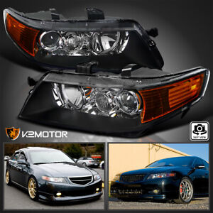 04 05 Acura Tsx Projector Headlights Black Housing Clear Lens W Amber Reflector