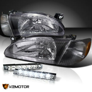 For 1998 2000 Toyota Corolla Black Headlights Corner Lamps 6 Led Bumper Fog