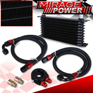 10an 9row Engine Diff Trans Oil Cooler Cooling Adapter Relocation Kit Set Black