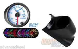 99 02 Ford Super Duty Glowshift White 7 Color Psi Oil Pressure Gauge