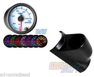 Glowshift White 7 Color Psi Oil Pressure Gauge black Pod For 98 02 Dodge Cummins