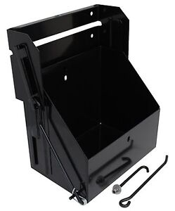 Drop Down Battery Box Stainless Steel Group 24 Batteries Black Powder Coat
