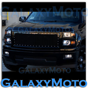 14 15 Chevy Silverado 1500 Black Front Hood Complete Rivet Mesh Grille Shell