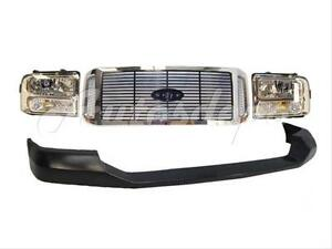 For 2005 2007 Ford F250 F350 F450 Front Bumper Upper Cap Grille Chr Headlight 4p