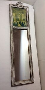 Antique Mirror With Victorian Picture Top