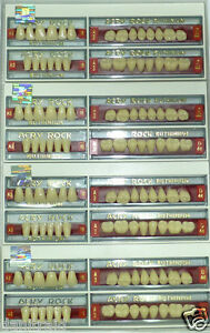 Lot X 4 Full Set Dental Acrylic Teeth Acry Rock Ruthinium Size 18