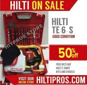 Hilti Te 6 s Preowned Free Hilti Hat Set Of Bits Chisels Fast Ship