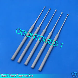 5 Buck Ear Curettes Surgical vet instruments Str Sharp