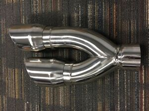 Stainless Steel Tail Pipe Exhaust Tip 3 Inlet 4 Dual Out 16 Long