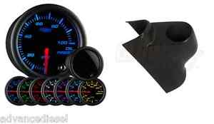Glowshift Tinted 7color Psi Oil Pressure Gauge black Pod For 03 09 Dodge Cummins