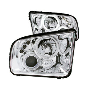 Anzo 121162 Set Of 2 Chrome Ccfl Halo Projector Headlights For 05 09 Mustang