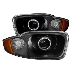 Anzo 121437 Set Of 2 Black Halo Projector Headlights For 03 05 Chevy Cavalier