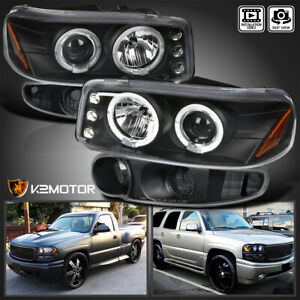 For 2000 2006 Gmc Yukon Denali Xl Halo Projector Headlights Bumper Lamps Black