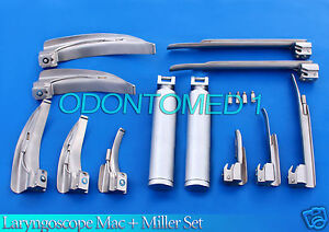 Laryngoscope Mac Miller Set Of10 Blades 2 Handles Emt Anesthesia Intubation