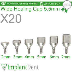 20 Healing Cap Wide 5 5mm For Dental Implant Internal Hex Prosthetic Lab