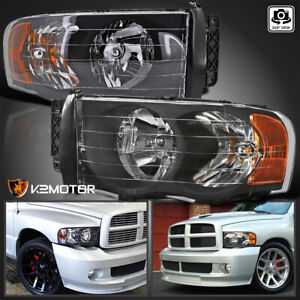 For 2002 2005 Dodge Ram 1500 2003 2005 Ram 2500 3500 Black Headlights Left Right