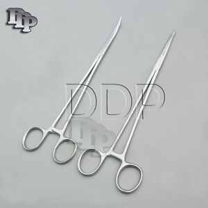 2 Pieces Kelly Hemostat Forceps Straight Curved 10 Surgical Instruments