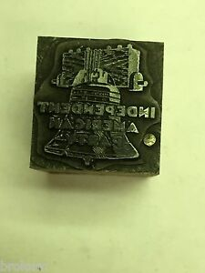 Independent American Party Political Printer s Letterpress Type Block Bell