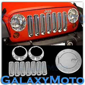 Chrome Headlight front Mesh Grille gas W locking Cover For 07 17 Jeep Wrangler J