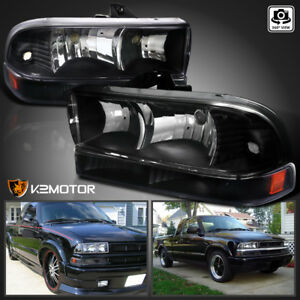 black 98 04 Chevy S10 Blazer Headlights Lamps bumper Signal Parking Lights 4pc