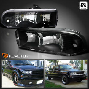 1998 2004 Chevy S10 Blazer Pickup Black Headlights Head Lights Lamps Left right