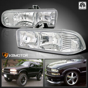 1998 2004 Chevy Blazer S10 Pickup Euro Crystal Clear Headlights Head Lamps Pair