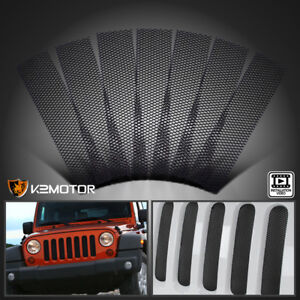 Jeep 07 18 Wrangler Jk Black Sport Grille Grill Cover Trim Insert Mesh Guard Kit
