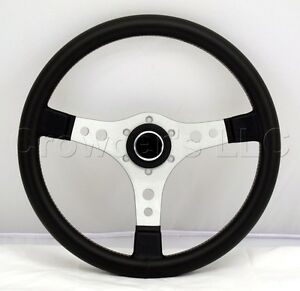 Sport Line Racing Steering Wheel 350mm Black Vinyl White Stitching 10102 35