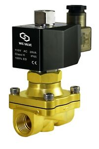 1 2 Normally Open Brass Air Water Zero Pressure Electric Solenoid Valve 110v Ac