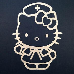 Hello Kitty Nurse Car Sticker Emblem Label Window Laptop Ipad Stick