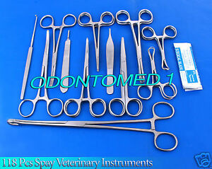 118 Pcs Spay Neuter Veterinary Surgery Surgical Instruments Forceps