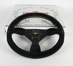 Personal Steering Wheel Grinta 330 Mm Black Suede Leather With Yellow Stitch