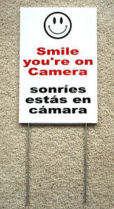 Smile You re On Camera Sign 8 x12 W Stake Security Surveillance Spanish