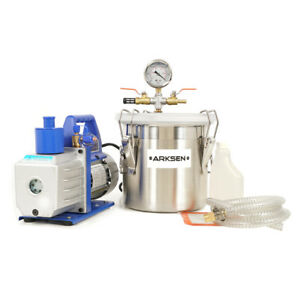 Vacuum Chamber And 5 Cfm Single Stage Pump 2 Gallon Degassing Urethane Silicone