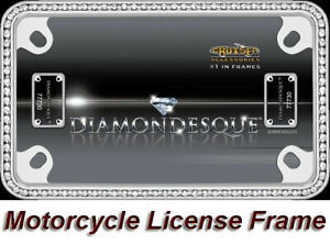 Chrome Diamonds Crystals Bling Metal Motorcycle License Plate Tag Frame 1 Holder
