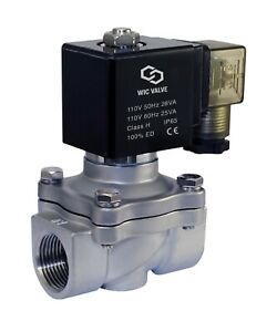 Stainless Steel Electric Air Water Solenoid Valve Nc 110vac Viton Seal 3 4 Inch