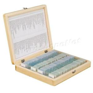 100 Glass Prepared Basic Science Microscope Slides With Wooden Box Set A