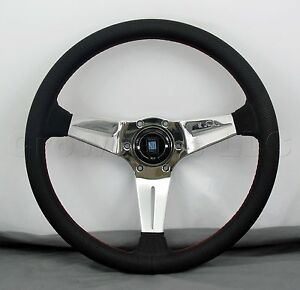 Nardi Steering Wheel Deep Dish Corn 350mm Black Perf Leather Polished Classic Hb
