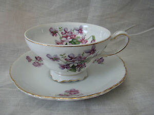 Vintage Royal Sealy China Footed Teacup Made In Japan Violets Floral 61517