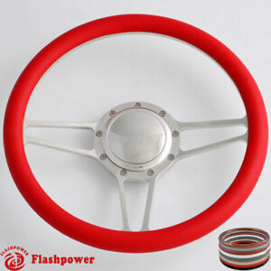 14 Billet Steering Wheel Red Half Wrap Horn Button Gm Dodge Challenger Charger