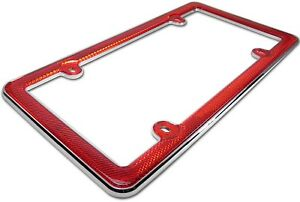 Red Reflector Chrome Plastic License Plate Frame Car Truck Auto Rv Tag Holder