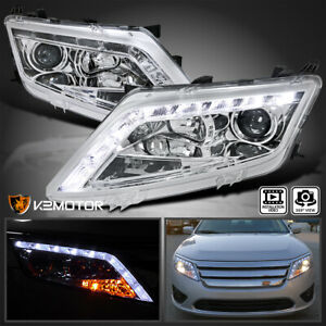 Fit 2010 2012 Ford Fusion Clear Led Strip Projector Headlight Clear Head Lamps