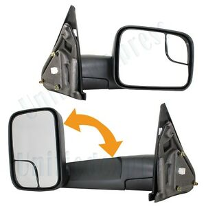 Pair Folding Towing View Mirrors L R Side Set Power Heated 02 08 Dodge Ram Truck