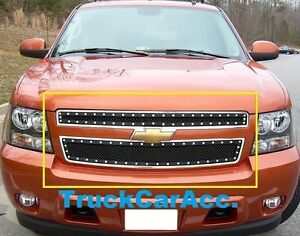 For Chevy Tahoe Suburban 2007 2014 2pc Black Mesh Rivets Studs Overlay Grille