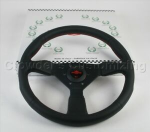 Personal Steering Wheel Neo Grinta 350 Mm Black Smooth Leather Red Stitching