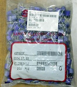 200x Genuine Sanyo 4sp820m Os con 820uf 4v Oscon Solid Polymer Capacitor