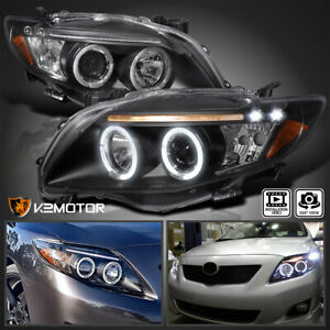 For 2009 2010 Toyota Corolla Black Led Drl Halo Projector Headlights Left Right